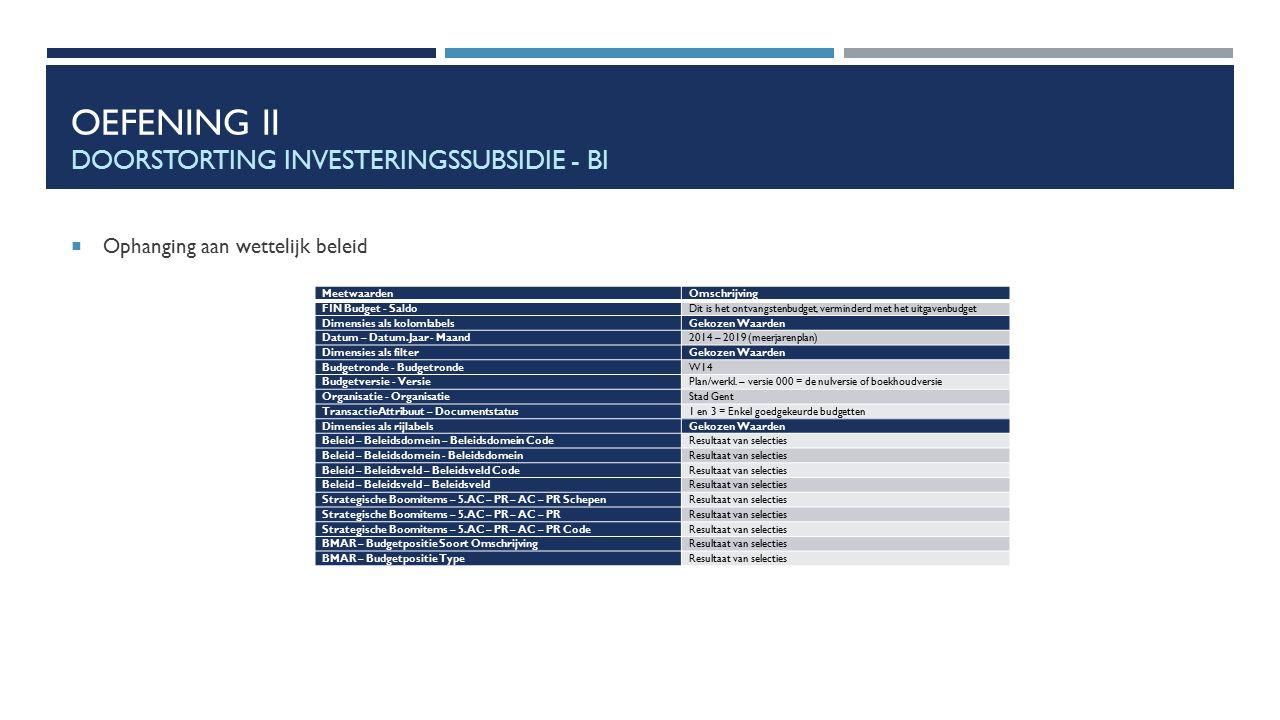 OEFENING II DOORSTORTING INVESTERINGSSUBSIDIE - BI  Ophanging aan wettelijk beleid MeetwaardenOmschrijving FIN Budget - SaldoDit is het ontvangstenbu