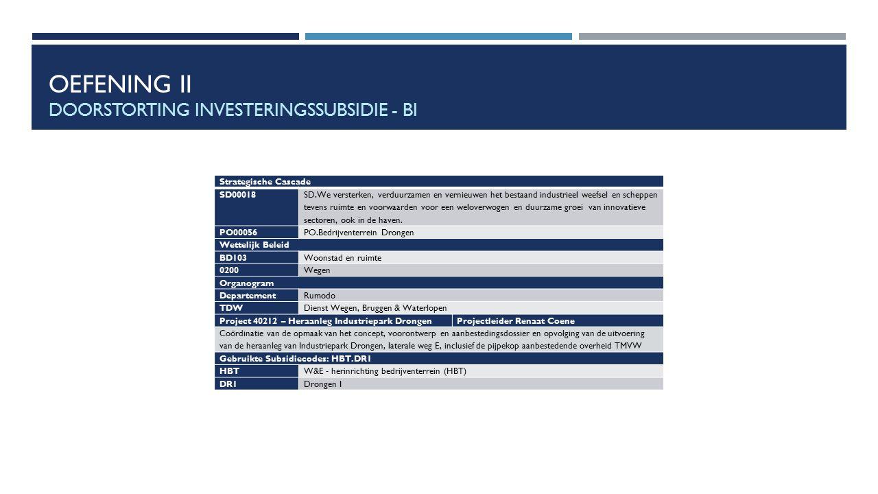 OEFENING II DOORSTORTING INVESTERINGSSUBSIDIE - BI Strategische Cascade SD00018 SD.We versterken, verduurzamen en vernieuwen het bestaand industrieel