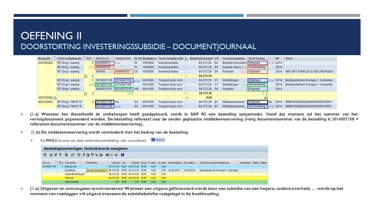 OEFENING II DOORSTORTING INVESTERINGSSUBSIDIE – DOCUMENTJOURNAAL  (1.a) Wanneer het diensthoofd de winkelwagen heeft goedgekeurd, wordt in SAP R3 een