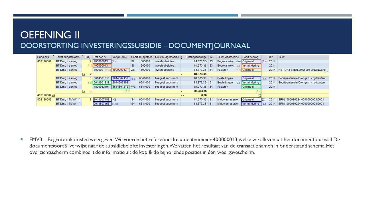 OEFENING II DOORSTORTING INVESTERINGSSUBSIDIE – DOCUMENTJOURNAAL  FMV3 – Begrote inkomsten weergeven: We voeren het referentie documentnummer 4000000