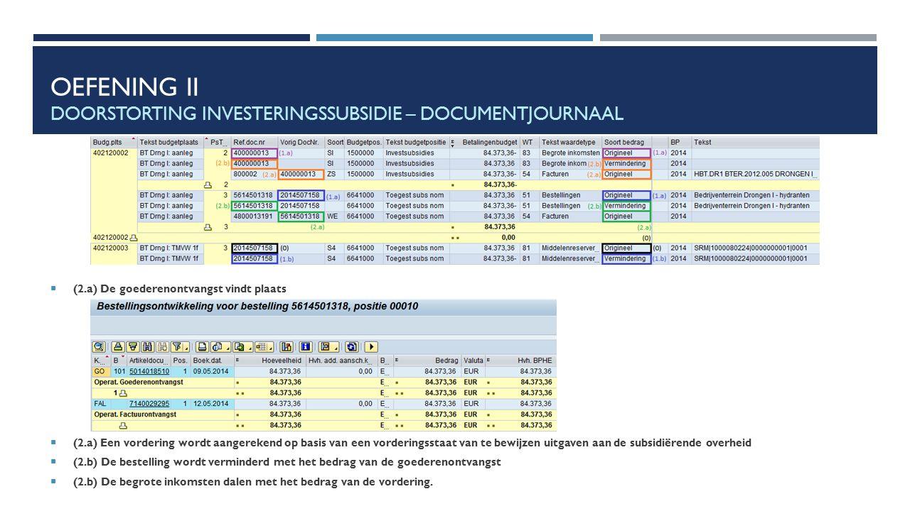 OEFENING II DOORSTORTING INVESTERINGSSUBSIDIE – DOCUMENTJOURNAAL  (2.a) De goederenontvangst vindt plaats  (2.a) Een vordering wordt aangerekend op