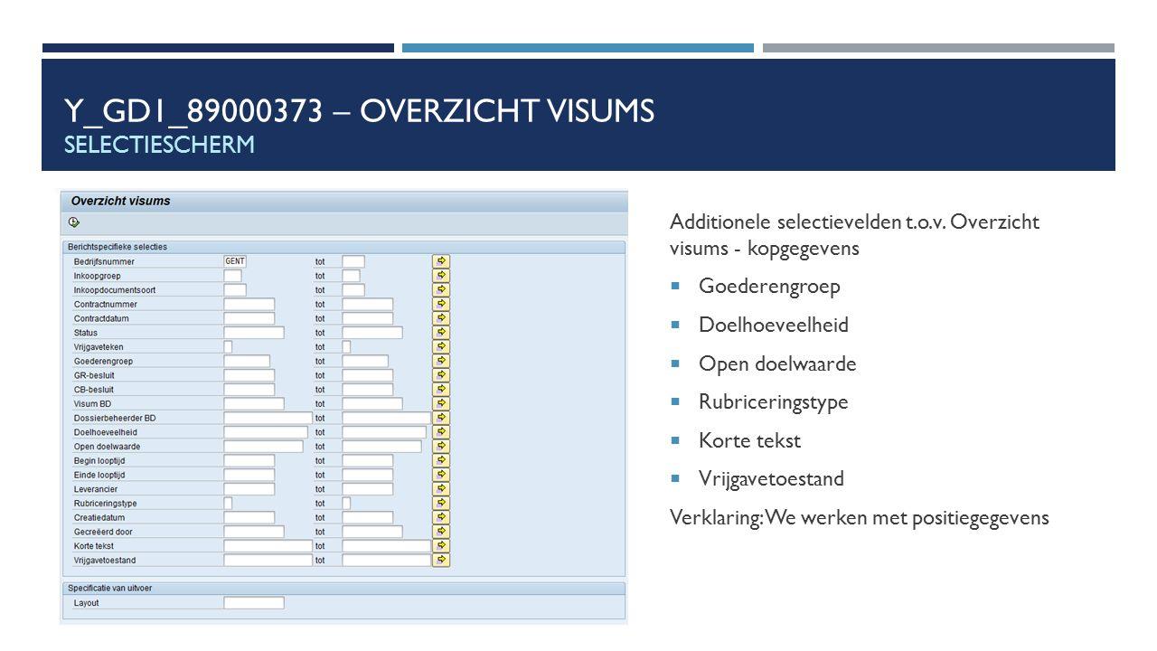 Y_GD1_89000373 – OVERZICHT VISUMS SELECTIESCHERM Additionele selectievelden t.o.v. Overzicht visums - kopgegevens  Goederengroep  Doelhoeveelheid 