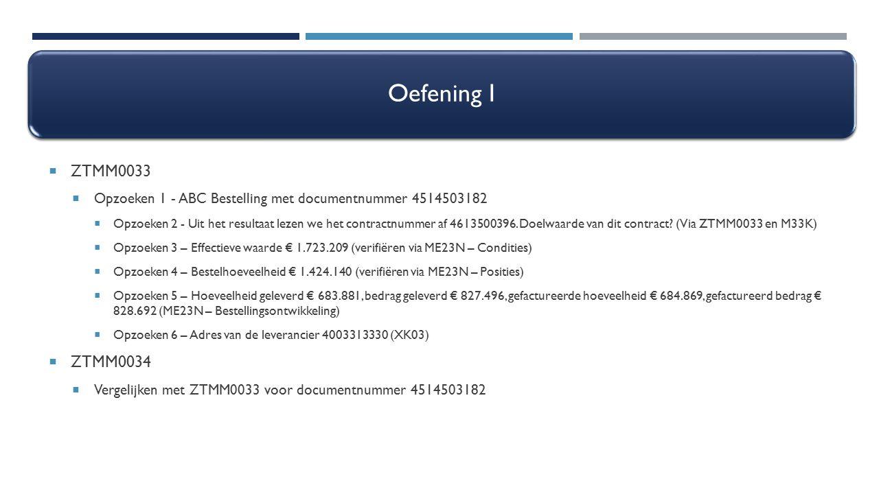 Oefening I  ZTMM0033  Opzoeken 1 - ABC Bestelling met documentnummer 4514503182  Opzoeken 2 - Uit het resultaat lezen we het contractnummer af 4613