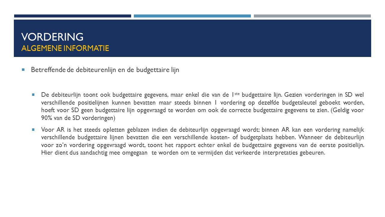 VORDERING ALGEMENE INFORMATIE  Betreffende de debiteurenlijn en de budgettaire lijn  De debiteurlijn toont ook budgettaire gegevens, maar enkel die