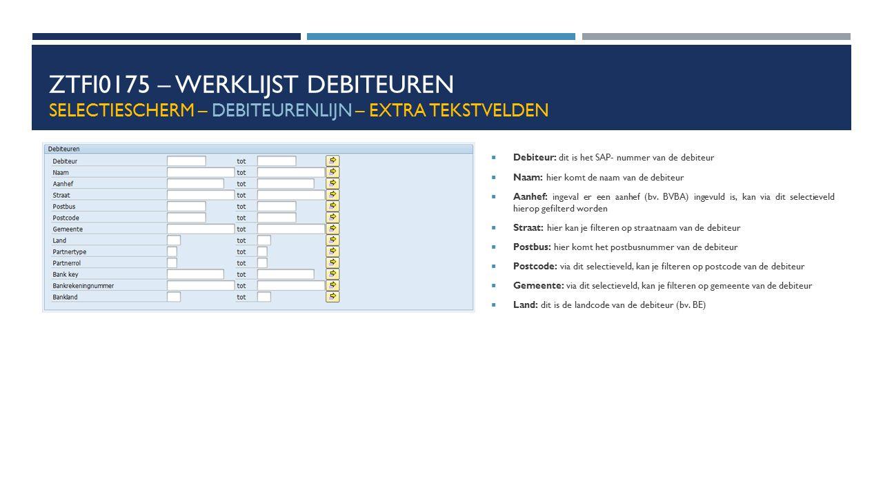 ZTFI0175 – WERKLIJST DEBITEUREN SELECTIESCHERM – DEBITEURENLIJN – EXTRA TEKSTVELDEN  Debiteur: dit is het SAP- nummer van de debiteur  Naam: hier ko
