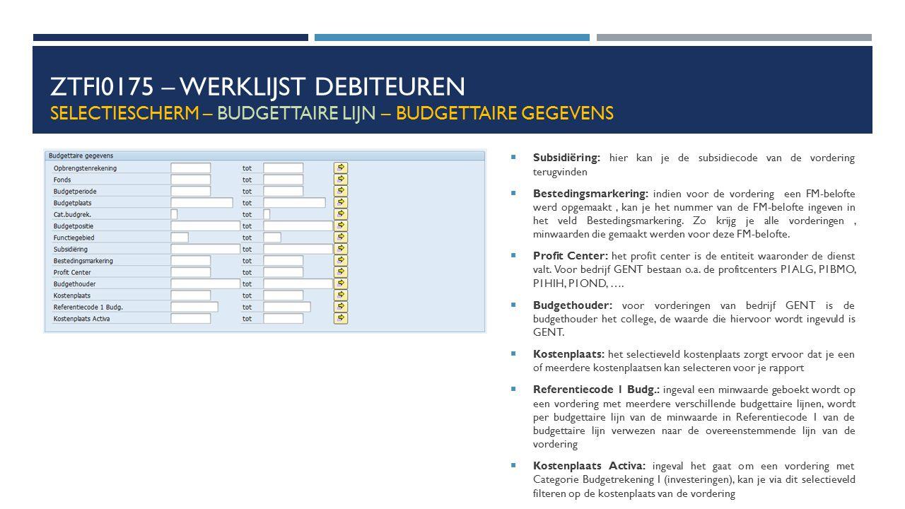ZTFI0175 – WERKLIJST DEBITEUREN SELECTIESCHERM – BUDGETTAIRE LIJN – BUDGETTAIRE GEGEVENS  Subsidiëring: hier kan je de subsidiecode van de vordering