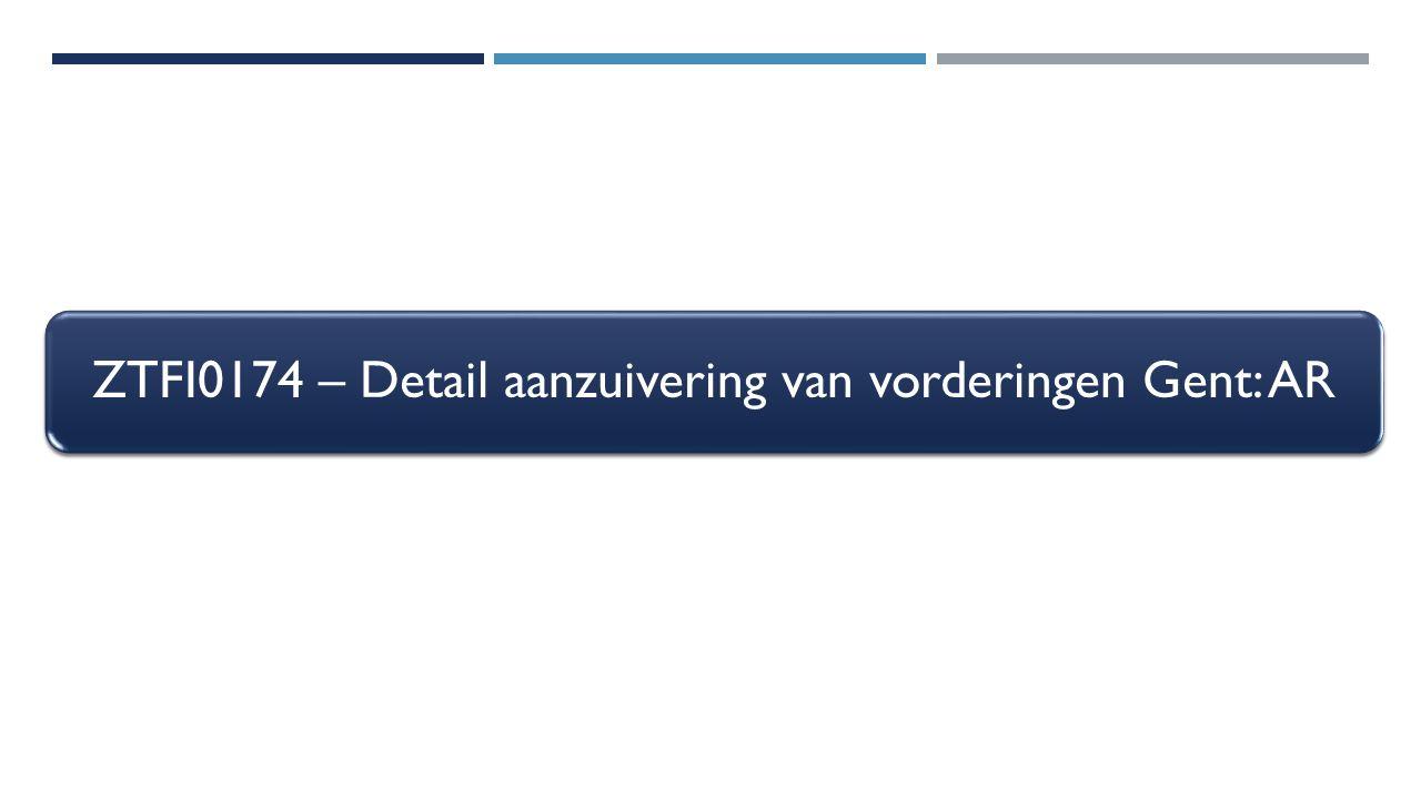 ZTFI0174 – Detail aanzuivering van vorderingen Gent: AR