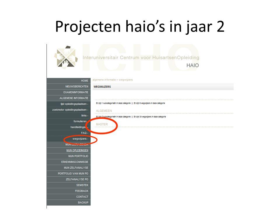 Projecten haio's in jaar 2