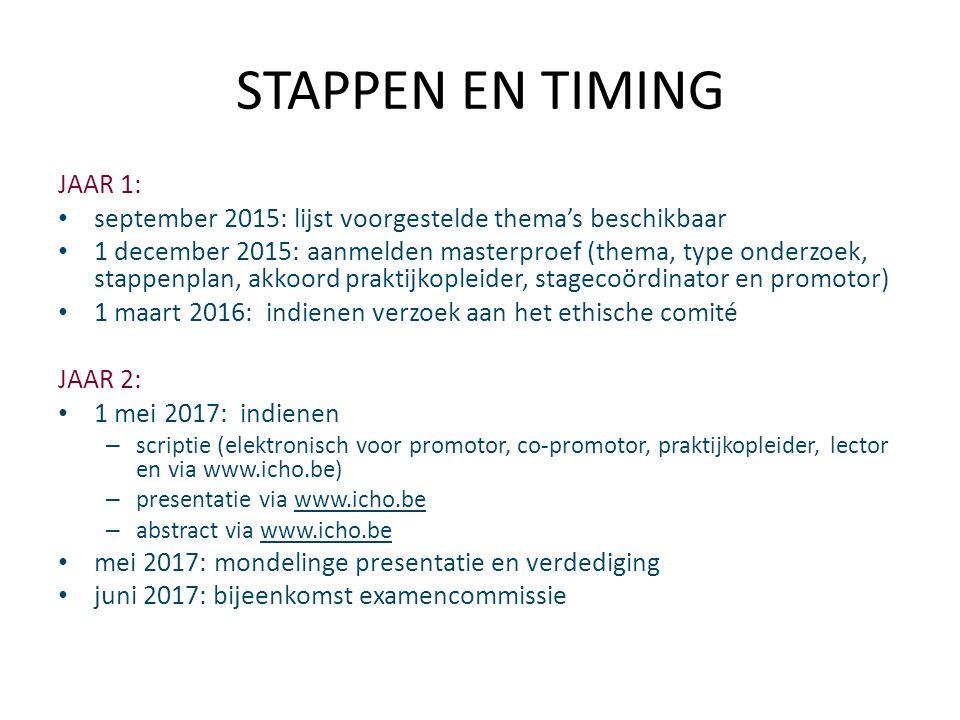STAPPEN EN TIMING JAAR 1: september 2015: lijst voorgestelde thema's beschikbaar 1 december 2015: aanmelden masterproef (thema, type onderzoek, stappenplan, akkoord praktijkopleider, stagecoördinator en promotor) 1 maart 2016: indienen verzoek aan het ethische comité JAAR 2: 1 mei 2017: indienen – scriptie (elektronisch voor promotor, co-promotor, praktijkopleider, lector en via www.icho.be) – presentatie via www.icho.be – abstract via www.icho.be mei 2017: mondelinge presentatie en verdediging juni 2017: bijeenkomst examencommissie