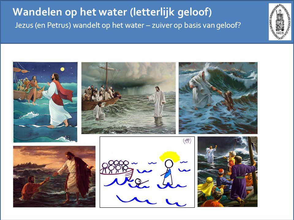 Wandelen op het water (externe kritiek) Cartoons creëren hun grappige effect door de letterlijke interpretatie van een bovennatuurlijke gebeurtenis af te zetten tegen de grenzen in het alledaagse leven