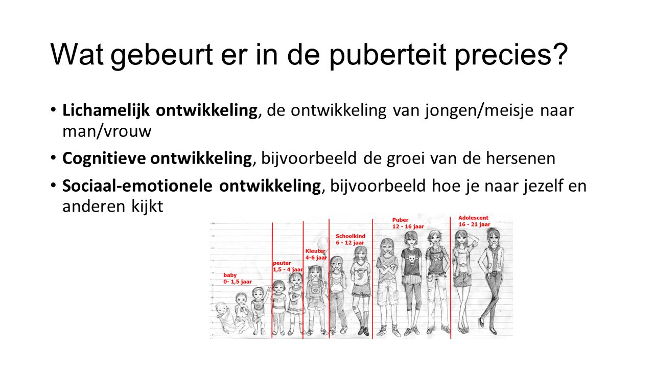 Wat gebeurt er in de puberteit precies.