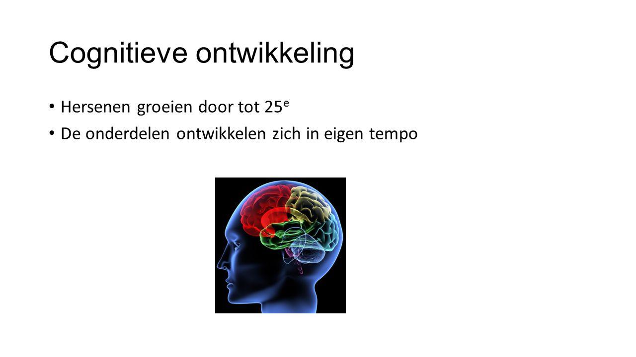 Cognitieve ontwikkeling Hersenen groeien door tot 25 e De onderdelen ontwikkelen zich in eigen tempo