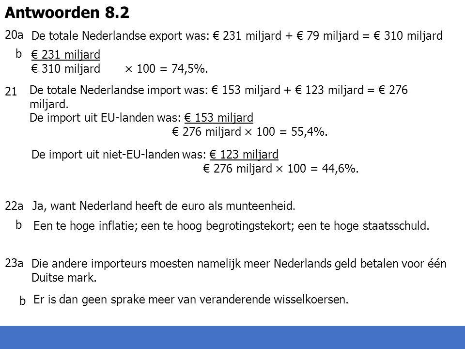 20a b 21 22a b 23a b Antwoorden 8.2 De totale Nederlandse export was: € 231 miljard + € 79 miljard = € 310 miljard € 231 miljard € 310 miljard× 100 = 74,5%.