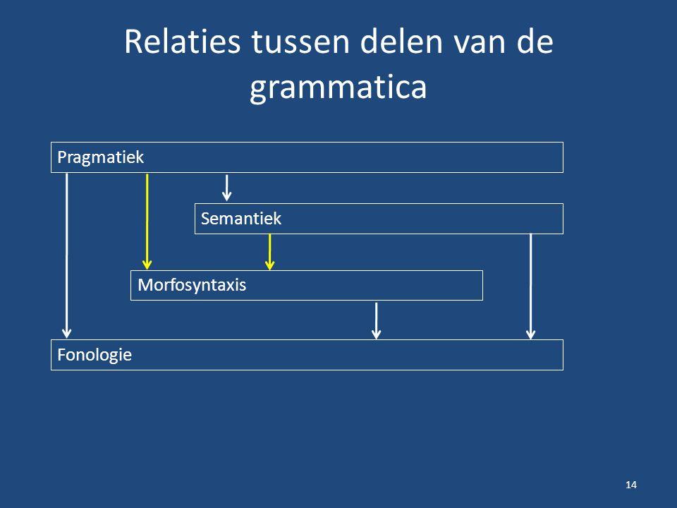 Relaties tussen delen van de grammatica 14 Pragmatiek Semantiek Morfosyntaxis Fonologie