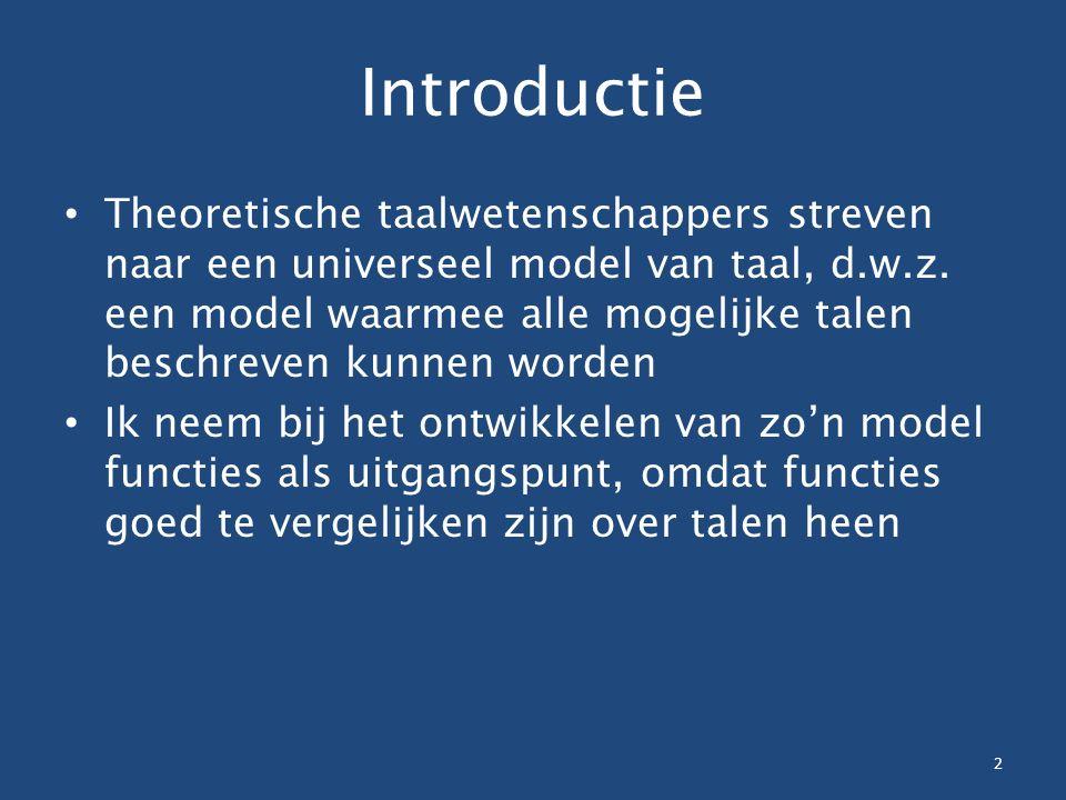 Introductie Theoretische taalwetenschappers streven naar een universeel model van taal, d.w.z. een model waarmee alle mogelijke talen beschreven kunne