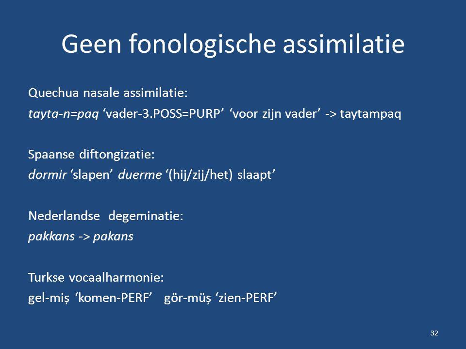 Geen fonologische assimilatie Quechua nasale assimilatie: tayta-n=paq 'vader-3.POSS=PURP' 'voor zijn vader' -> taytampaq Spaanse diftongizatie: dormir 'slapen' duerme '(hij/zij/het) slaapt' Nederlandse degeminatie: pakkans -> pakans Turkse vocaalharmonie: gel-miș'komen-PERF' gör-müș 'zien-PERF' 32