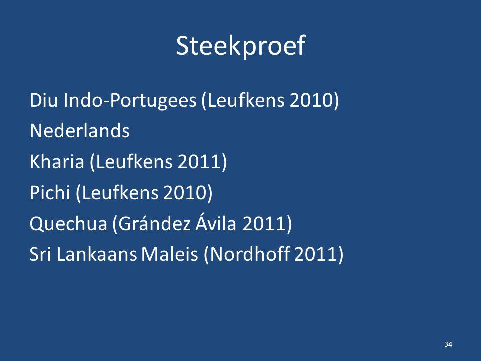 Steekproef Diu Indo-Portugees (Leufkens 2010) Nederlands Kharia (Leufkens 2011) Pichi (Leufkens 2010) Quechua (Grández Ávila 2011) Sri Lankaans Maleis (Nordhoff 2011) 34