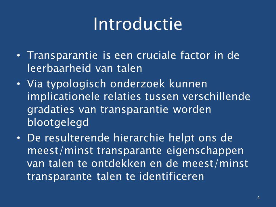 Introductie Transparantie is een cruciale factor in de leerbaarheid van talen Via typologisch onderzoek kunnen implicationele relaties tussen verschillende gradaties van transparantie worden blootgelegd De resulterende hierarchie helpt ons de meest/minst transparante eigenschappen van talen te ontdekken en de meest/minst transparante talen te identificeren 4