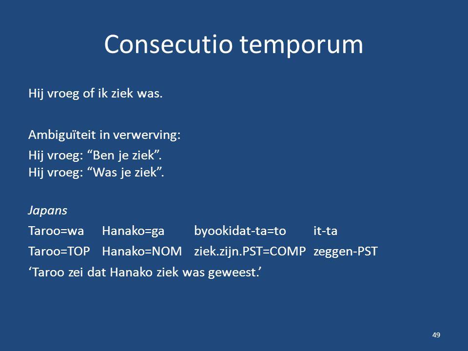 """Consecutio temporum Hij vroeg of ik ziek was. Ambiguïteit in verwerving: Hij vroeg: """"Ben je ziek"""". Hij vroeg: """"Was je ziek"""". Japans Taroo=waHanako=gab"""