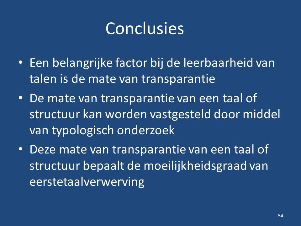 Conclusies Een belangrijke factor bij de leerbaarheid van talen is de mate van transparantie De mate van transparantie van een taal of structuur kan worden vastgesteld door middel van typologisch onderzoek Deze mate van transparantie van een taal of structuur bepaalt de moeilijkheidsgraad van eerstetaalverwerving 54