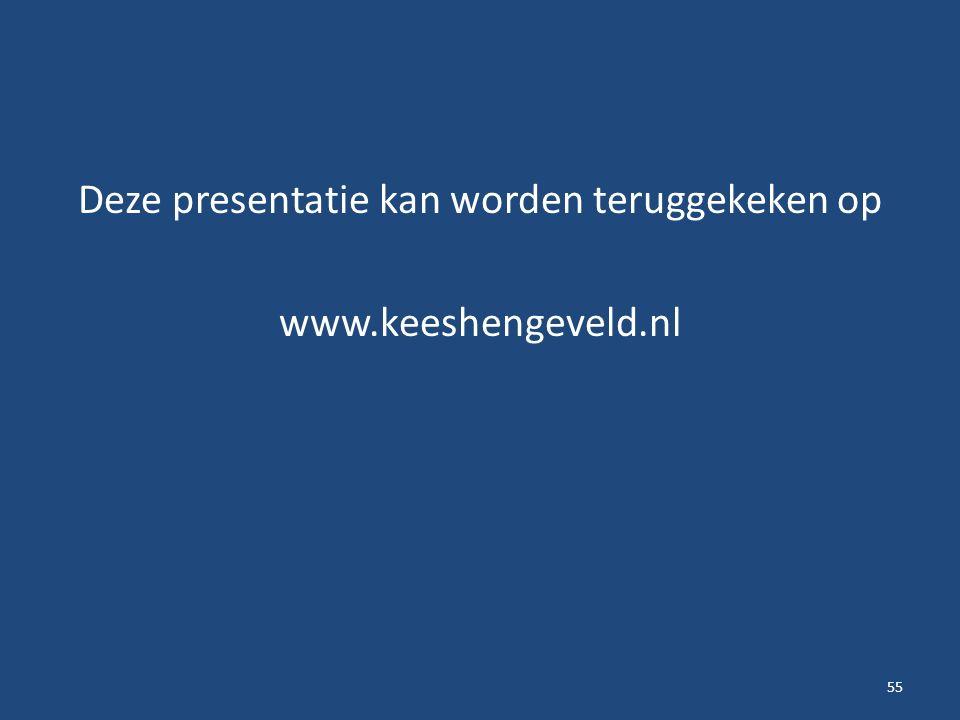 Deze presentatie kan worden teruggekeken op www.keeshengeveld.nl 55