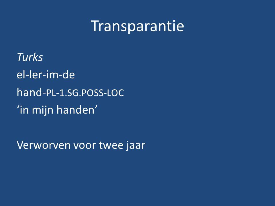 Transparante eigenschapNeder- lands QuechuaPichiDIPSLMKharia Geen consecutio temporum - +++++ Geen grammaticaal geslacht - +++++ Geen grammaticale relaties --++++ parallelle fonologische en syntactische frasering ---+++ Geen expletieve elementen ----++ Geen stamalternantie ----++ Geen invloed van fonologisch gewicht -----+ Geen appositie ------ Geen fonologische assimilatie ------