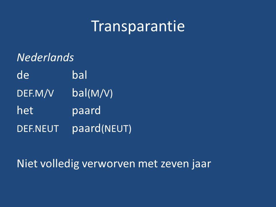 Transparantie Nederlands debal DEF.M/V bal (M/V) hetpaard DEF.NEUT paard (NEUT) Niet volledig verworven met zeven jaar