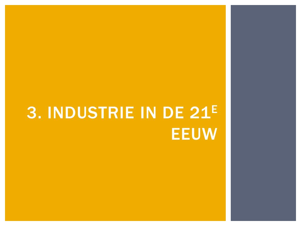 3. INDUSTRIE IN DE 21 E EEUW