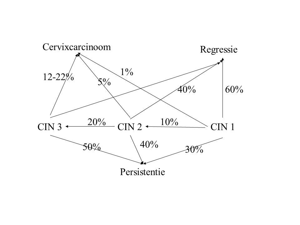 Cervixcarcinoom CIN 3CIN 2CIN 1 Regressie Persistentie 60% 10% 30% 40% 20% 50% 12-22% 5% 1% 40%