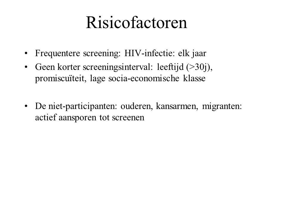 Frequentere screening: HIV-infectie: elk jaar Geen korter screeningsinterval: leeftijd (>30j), promiscuïteit, lage socia-economische klasse De niet-participanten: ouderen, kansarmen, migranten: actief aansporen tot screenen Risicofactoren