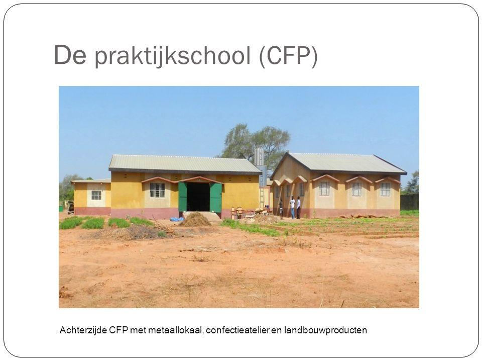 De praktijkschool (CFP) Achterzijde CFP met metaallokaal, confectieatelier en landbouwproducten