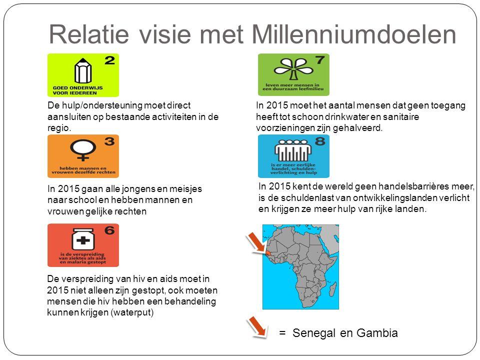 Relatie visie met Millenniumdoelen De hulp/ondersteuning moet direct aansluiten op bestaande activiteiten in de regio.