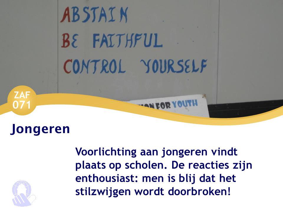 ZAF 071 Jongeren Voorlichting aan jongeren vindt plaats op scholen.