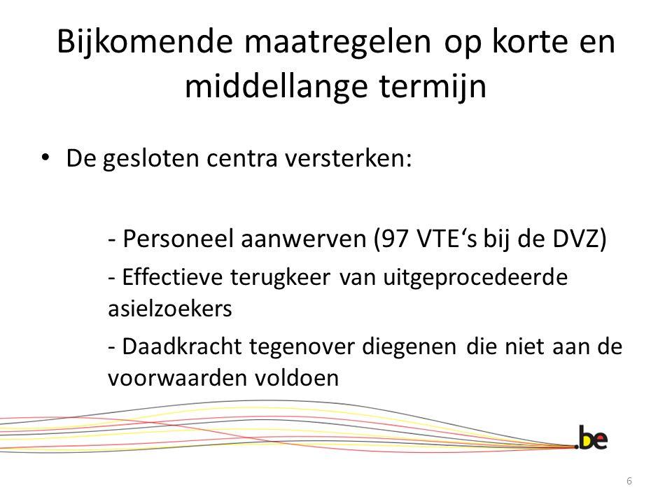 Bijkomende maatregelen op korte en middellange termijn De gesloten centra versterken: - Personeel aanwerven (97 VTE's bij de DVZ) - Effectieve terugkeer van uitgeprocedeerde asielzoekers - Daadkracht tegenover diegenen die niet aan de voorwaarden voldoen 6