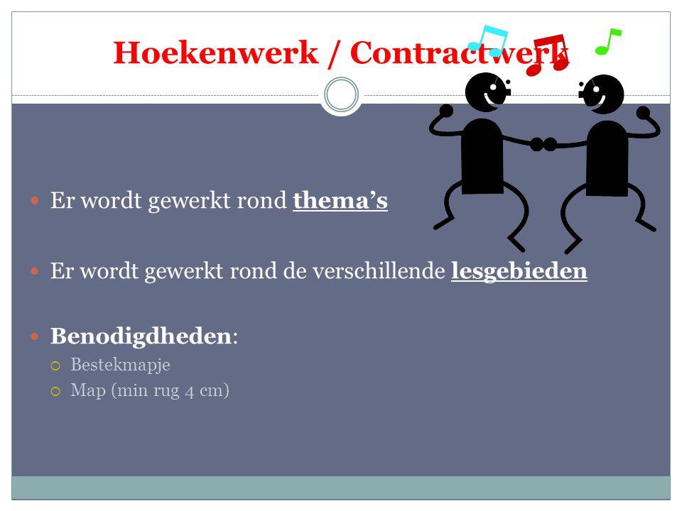 Hoekenwerk / Contractwerk Er wordt gewerkt rond thema's Er wordt gewerkt rond de verschillende lesgebieden Benodigdheden:  Bestekmapje  Map (min rug