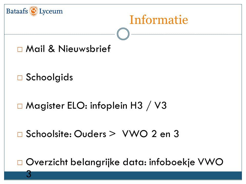 Informatie  Mail & Nieuwsbrief  Schoolgids  Magister ELO: infoplein H3 / V3  Schoolsite: Ouders > VWO 2 en 3  Overzicht belangrijke data: infoboekje VWO 3