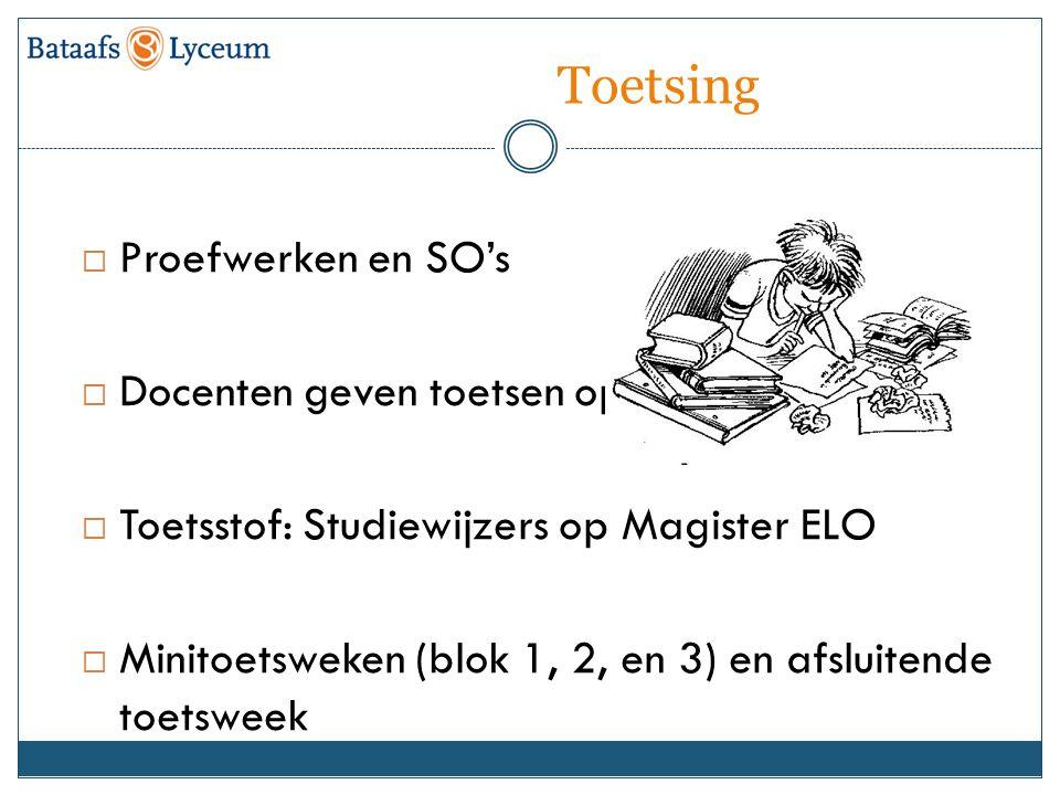 Toetsing  Proefwerken en SO's  Docenten geven toetsen op  Toetsstof: Studiewijzers op Magister ELO  Minitoetsweken (blok 1, 2, en 3) en afsluitende toetsweek