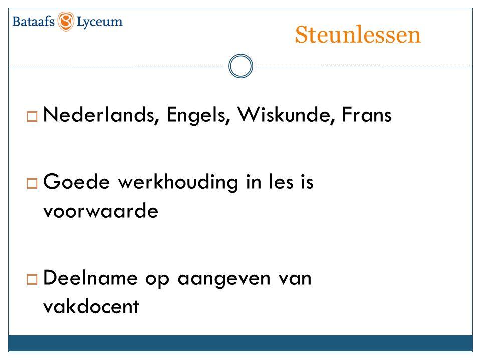 Steunlessen  Nederlands, Engels, Wiskunde, Frans  Goede werkhouding in les is voorwaarde  Deelname op aangeven van vakdocent