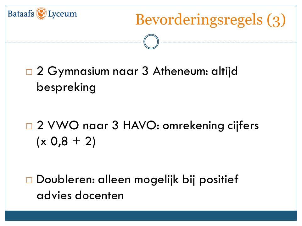 Bevorderingsregels (3)  2 Gymnasium naar 3 Atheneum: altijd bespreking  2 VWO naar 3 HAVO: omrekening cijfers (x 0,8 + 2)  Doubleren: alleen mogeli