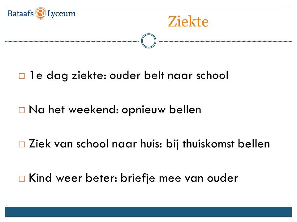 Ziekte  1e dag ziekte: ouder belt naar school  Na het weekend: opnieuw bellen  Ziek van school naar huis: bij thuiskomst bellen  Kind weer beter: