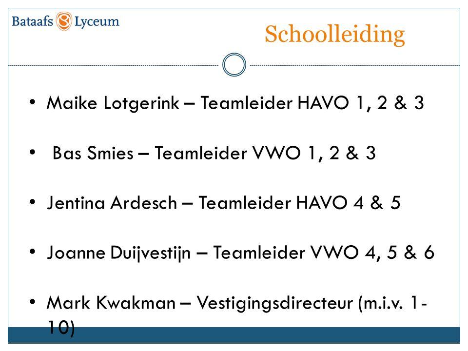 Schoolleiding Maike Lotgerink – Teamleider HAVO 1, 2 & 3 Bas Smies – Teamleider VWO 1, 2 & 3 Jentina Ardesch – Teamleider HAVO 4 & 5 Joanne Duijvestijn – Teamleider VWO 4, 5 & 6 Mark Kwakman – Vestigingsdirecteur (m.i.v.