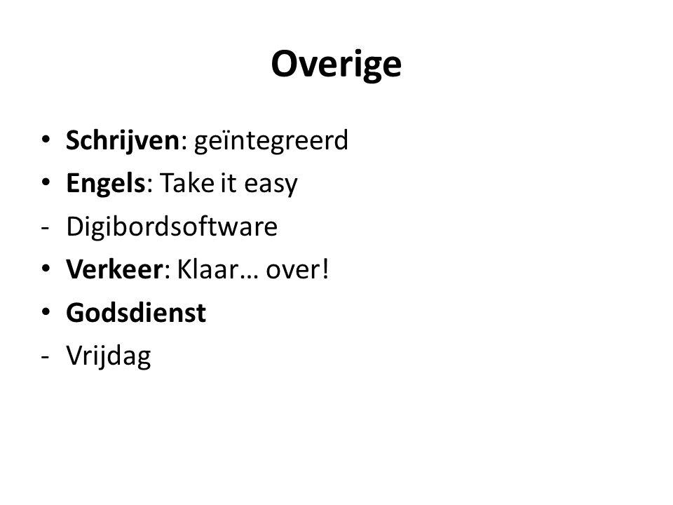 Overige Schrijven: geïntegreerd Engels: Take it easy -Digibordsoftware Verkeer: Klaar… over.