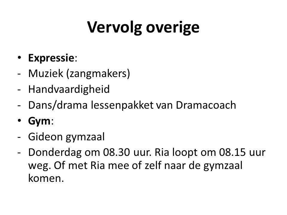 Vervolg overige Expressie: -Muziek (zangmakers) -Handvaardigheid -Dans/drama lessenpakket van Dramacoach Gym: -Gideon gymzaal -Donderdag om 08.30 uur.