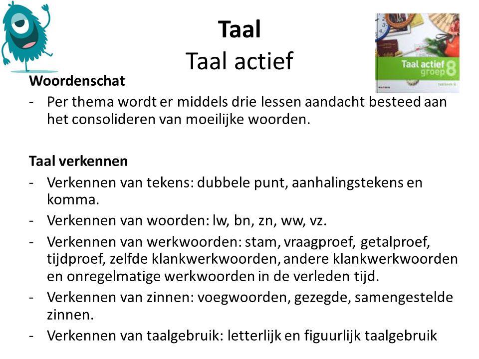 Taal Taal actief Woordenschat -Per thema wordt er middels drie lessen aandacht besteed aan het consolideren van moeilijke woorden.