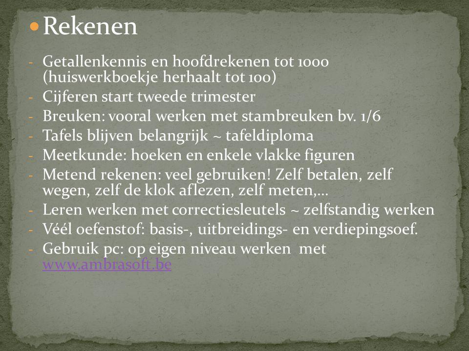 Rekenen - Getallenkennis en hoofdrekenen tot 1000 (huiswerkboekje herhaalt tot 100) - Cijferen start tweede trimester - Breuken: vooral werken met stambreuken bv.