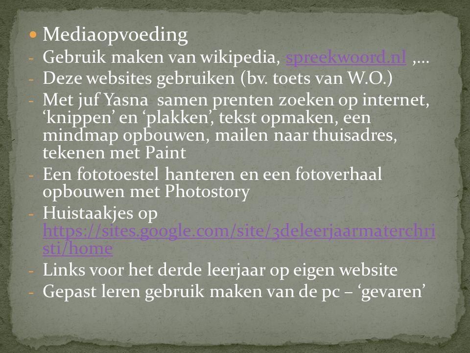 Mediaopvoeding - Gebruik maken van wikipedia, spreekwoord.nl,...spreekwoord.nl - Deze websites gebruiken (bv.