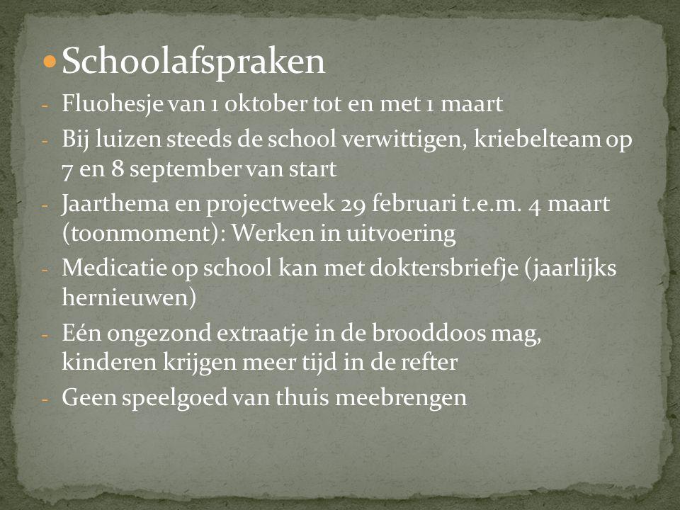 Schoolafspraken - Fluohesje van 1 oktober tot en met 1 maart - Bij luizen steeds de school verwittigen, kriebelteam op 7 en 8 september van start - Jaarthema en projectweek 29 februari t.e.m.