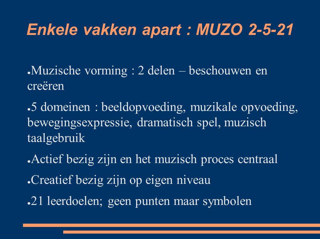 Enkele vakken apart : MUZO 2-5-21 ● Muzische vorming : 2 delen – beschouwen en creëren ● 5 domeinen : beeldopvoeding, muzikale opvoeding, bewegingsexp