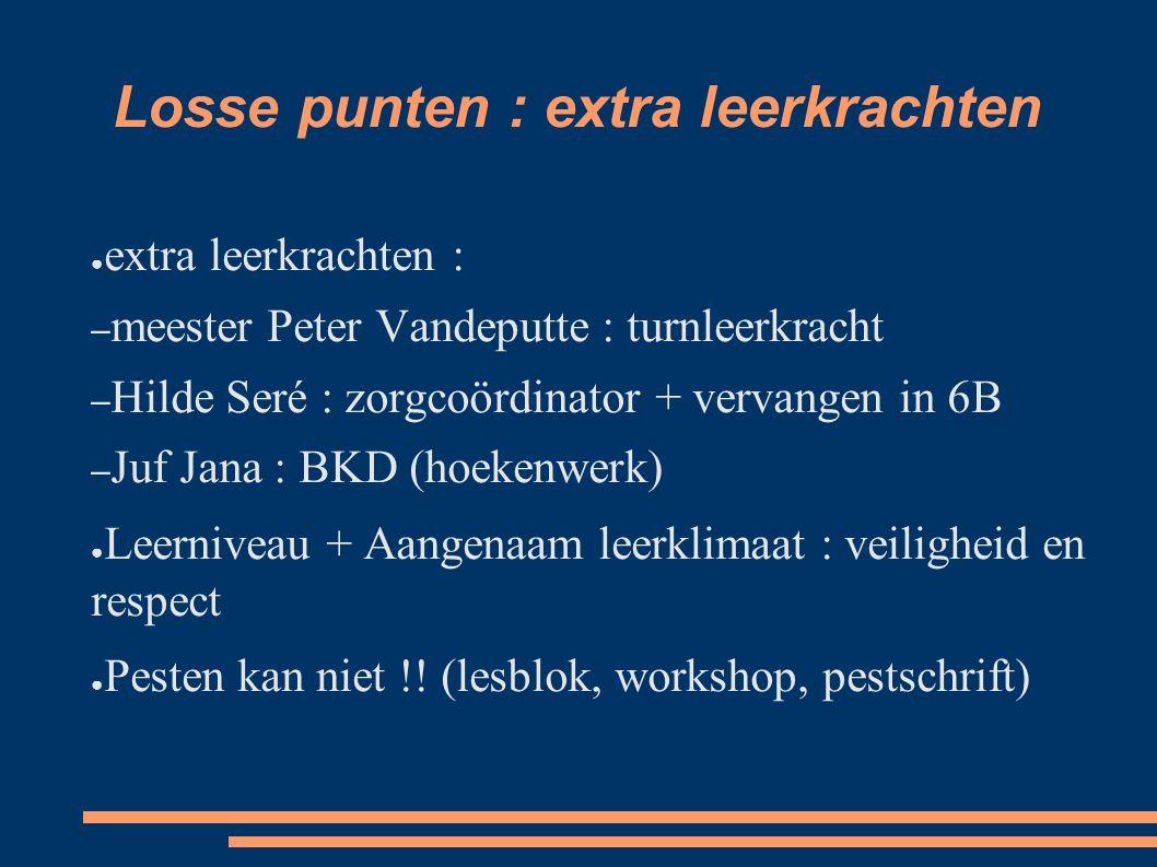 Losse punten : extra leerkrachten ● extra leerkrachten : – meester Peter Vandeputte : turnleerkracht – Hilde Seré : zorgcoördinator + vervangen in 6B