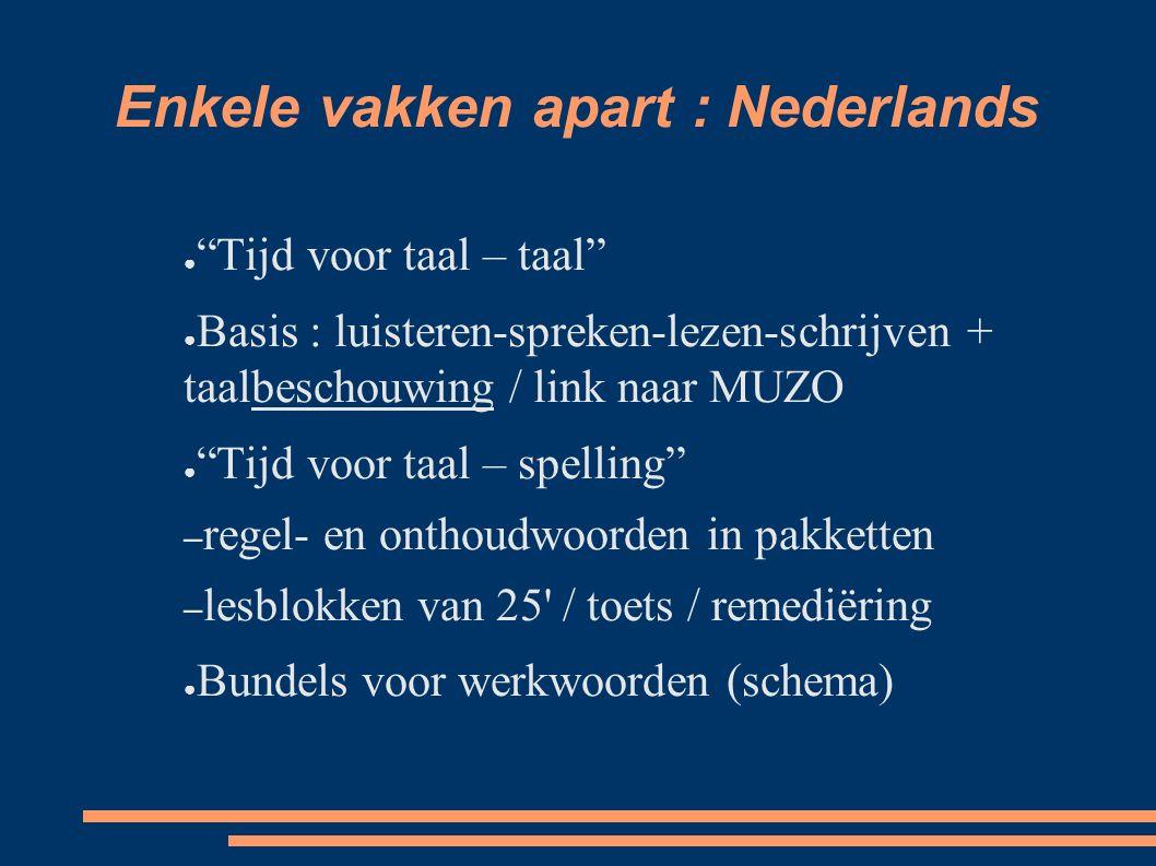 """Enkele vakken apart : Nederlands ● """"Tijd voor taal – taal"""" ● Basis : luisteren-spreken-lezen-schrijven + taalbeschouwing / link naar MUZO ● """"Tijd voor"""